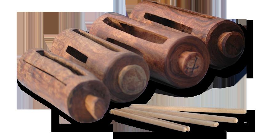 Abbildung: Krin- Schlitztrommeln, Musikinstrumente aus Afrika